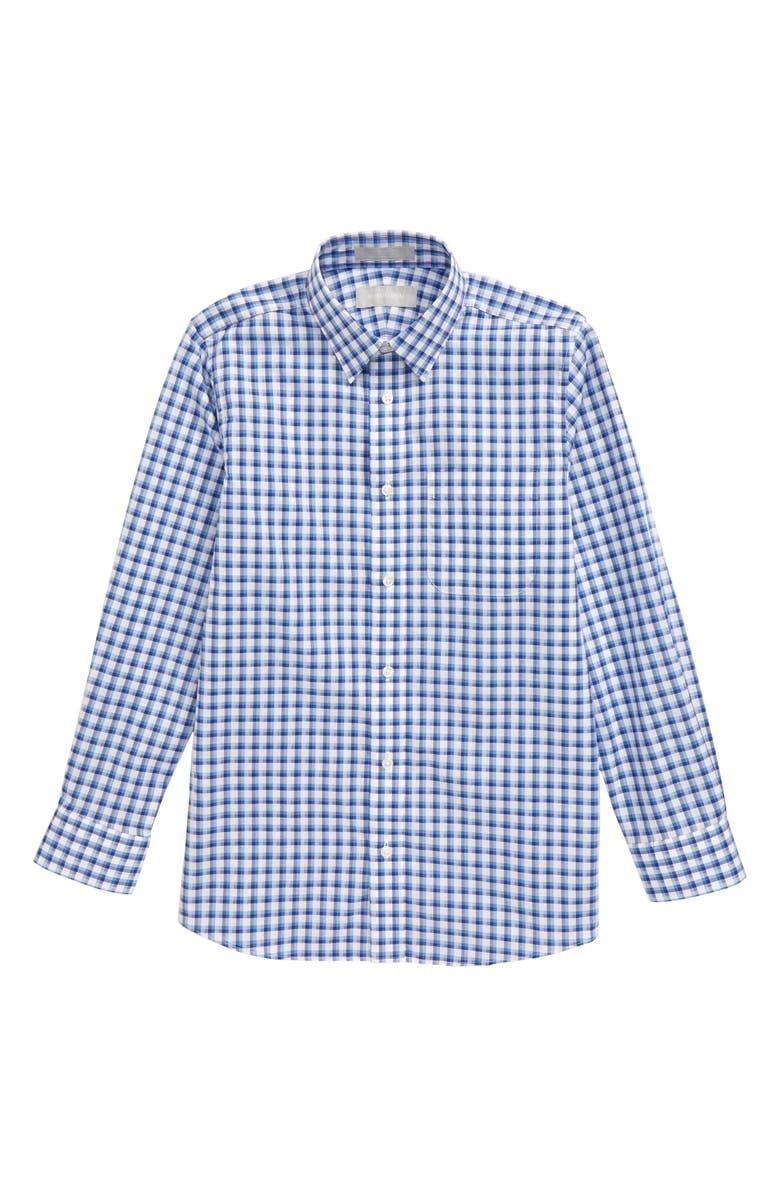 NORDSTROM Plaid Button-Up Dress Shirt, Main, color, BLUE LAKE- WHITE CHECK