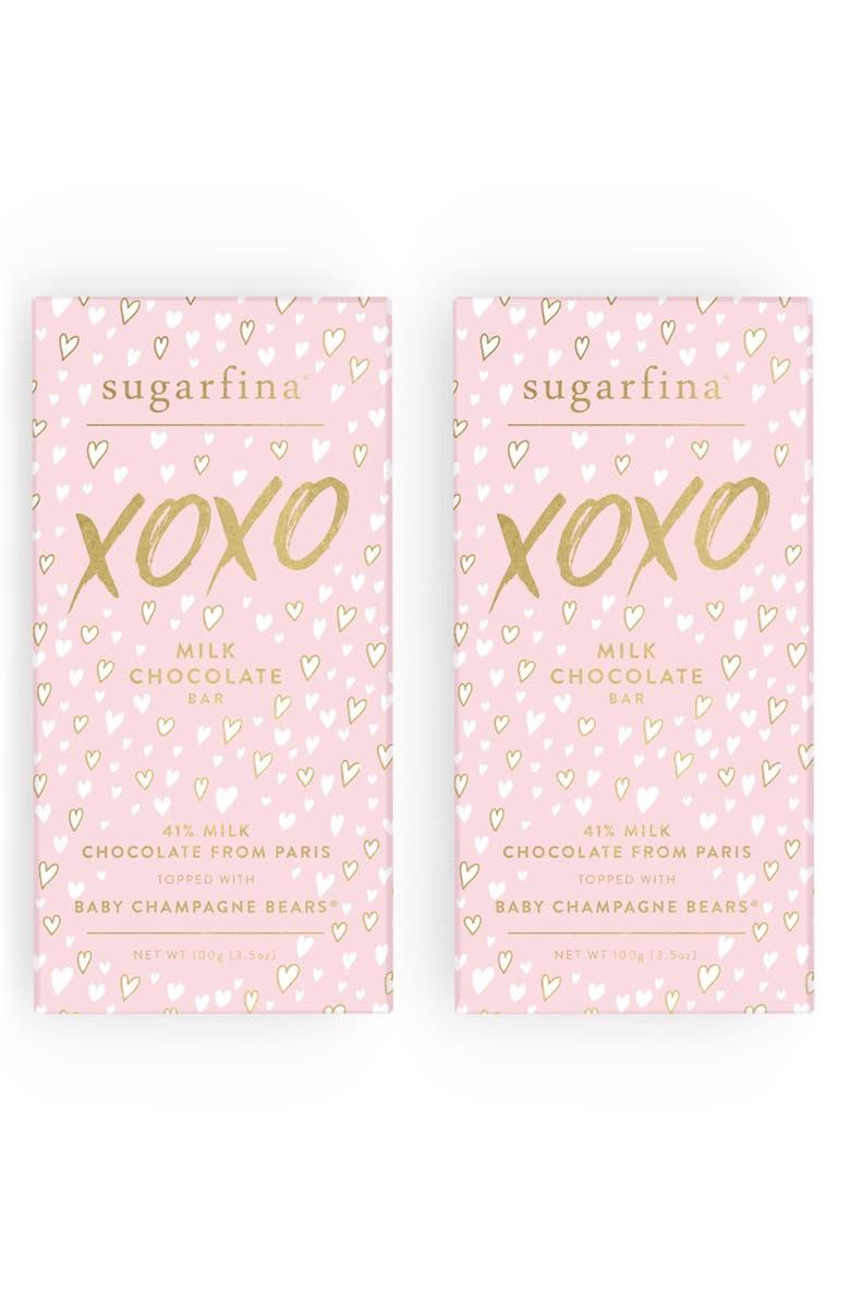 SUGARFINA XOXO 2-Pack Milk Chocolate Baby Champagne Bears<sup>®</sup> Bars, Main, color, 650