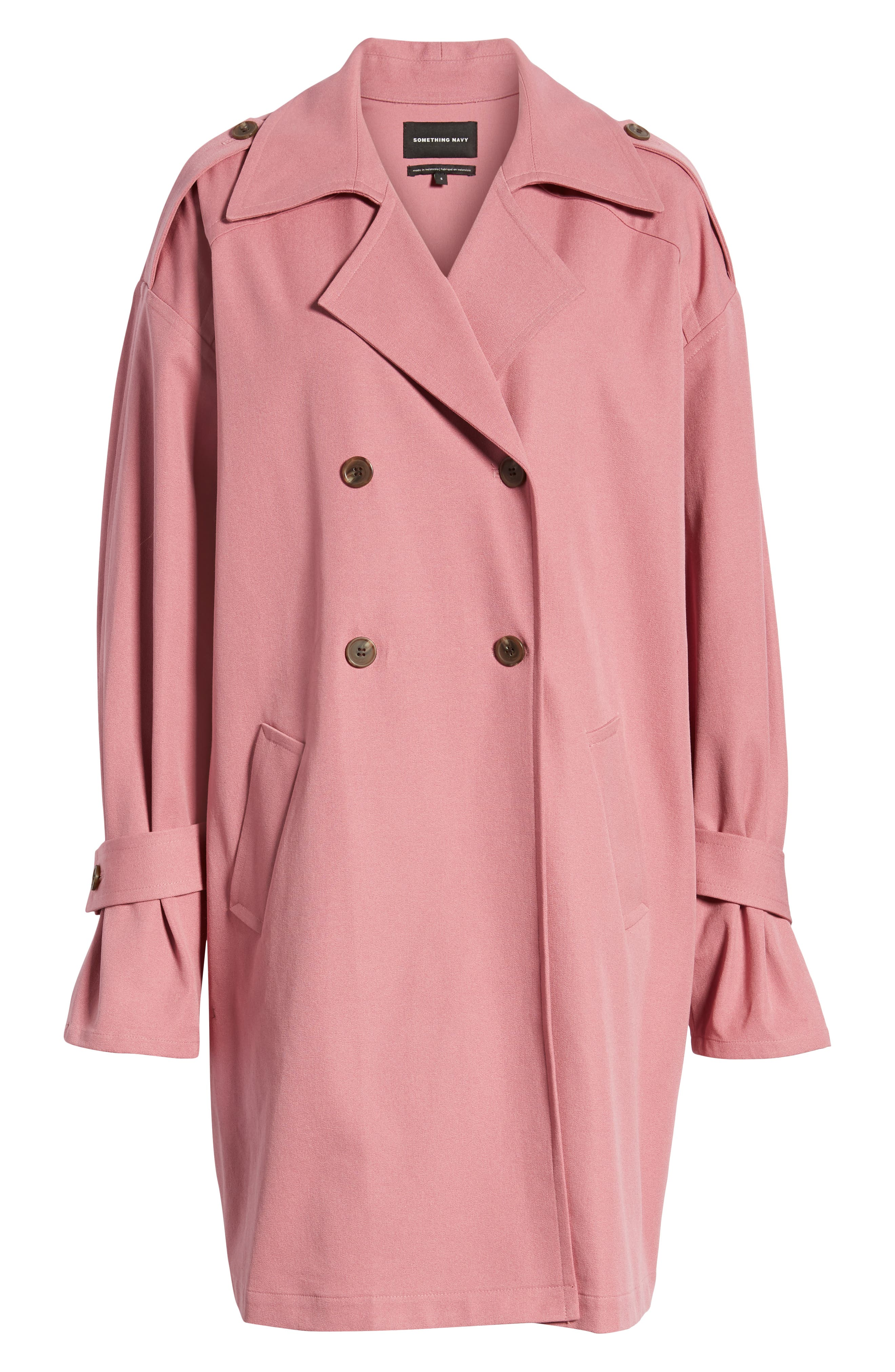 ,                             Easy Oversize Trench,                             Alternate thumbnail 8, color,                             PINK HEATHER