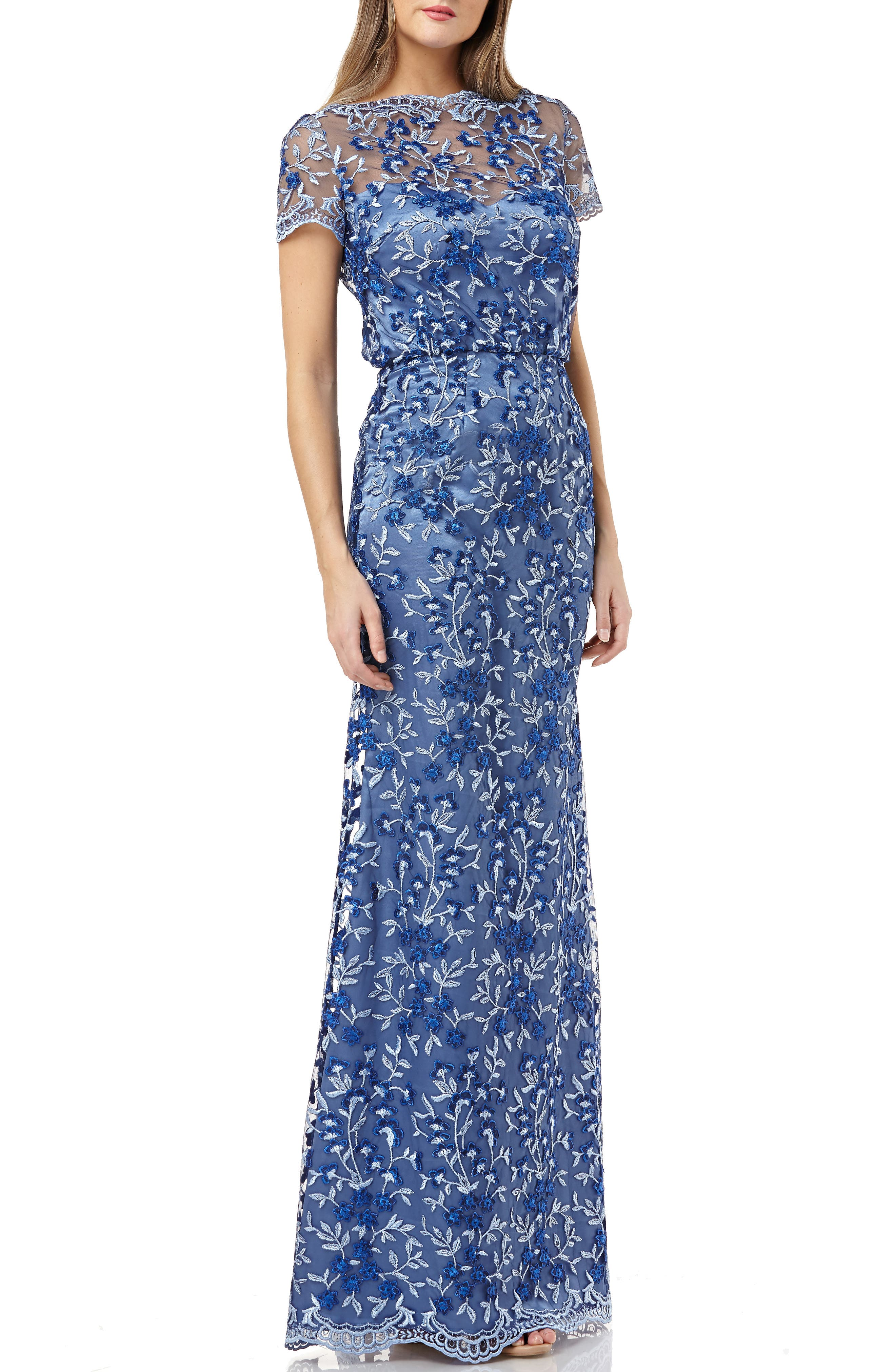 Js Collections Embroidered Evening Gown, Blue