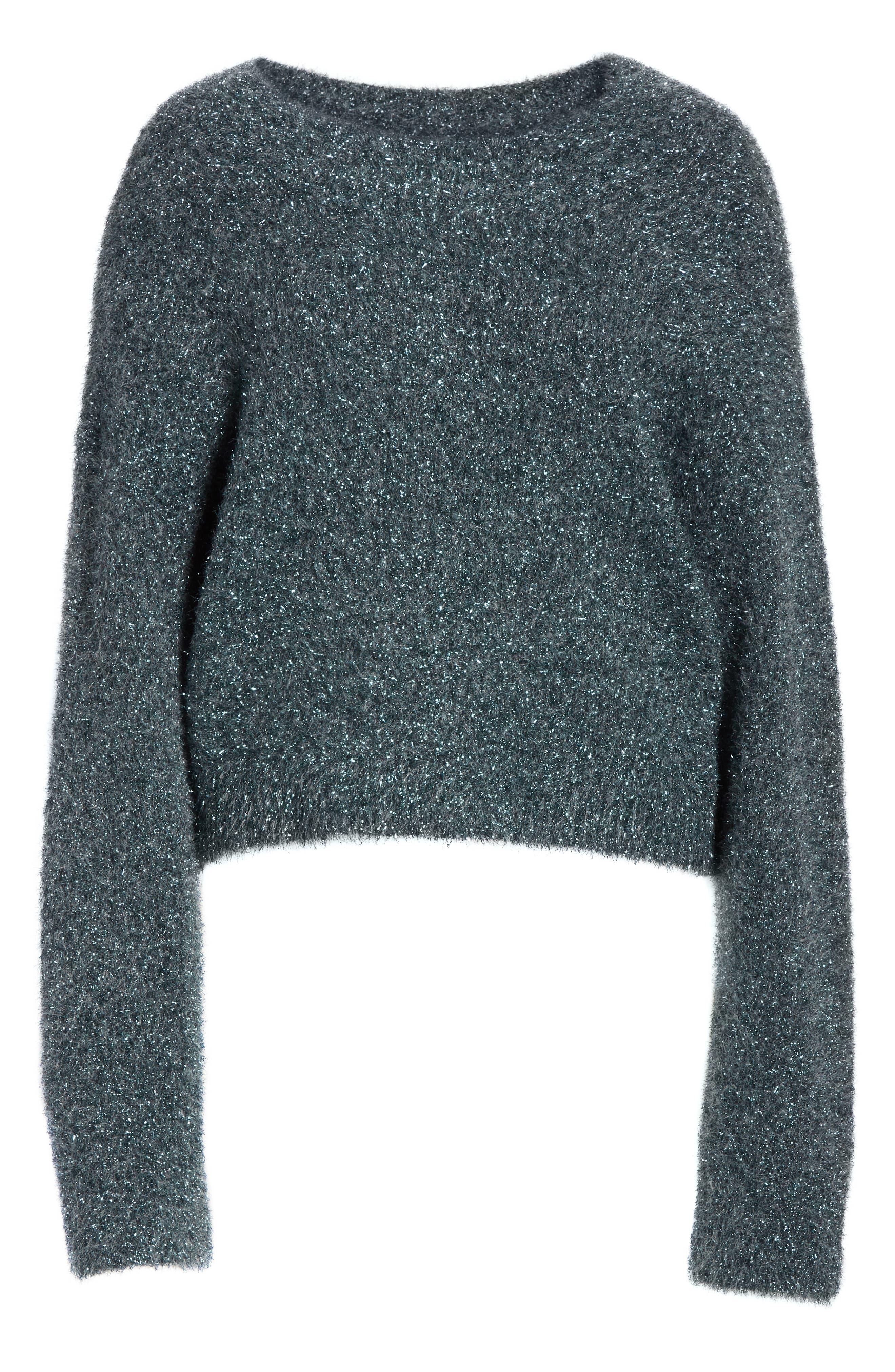 ,                             Boxy Metallic Knit Sweater,                             Alternate thumbnail 13, color,                             029