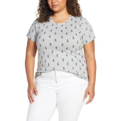 Plus Size Lucky Brand Woodblock Floral Tee, Grey