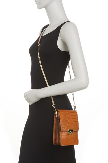 Image of Anna Luchini Croc Embossed Leather Crossbody Bag