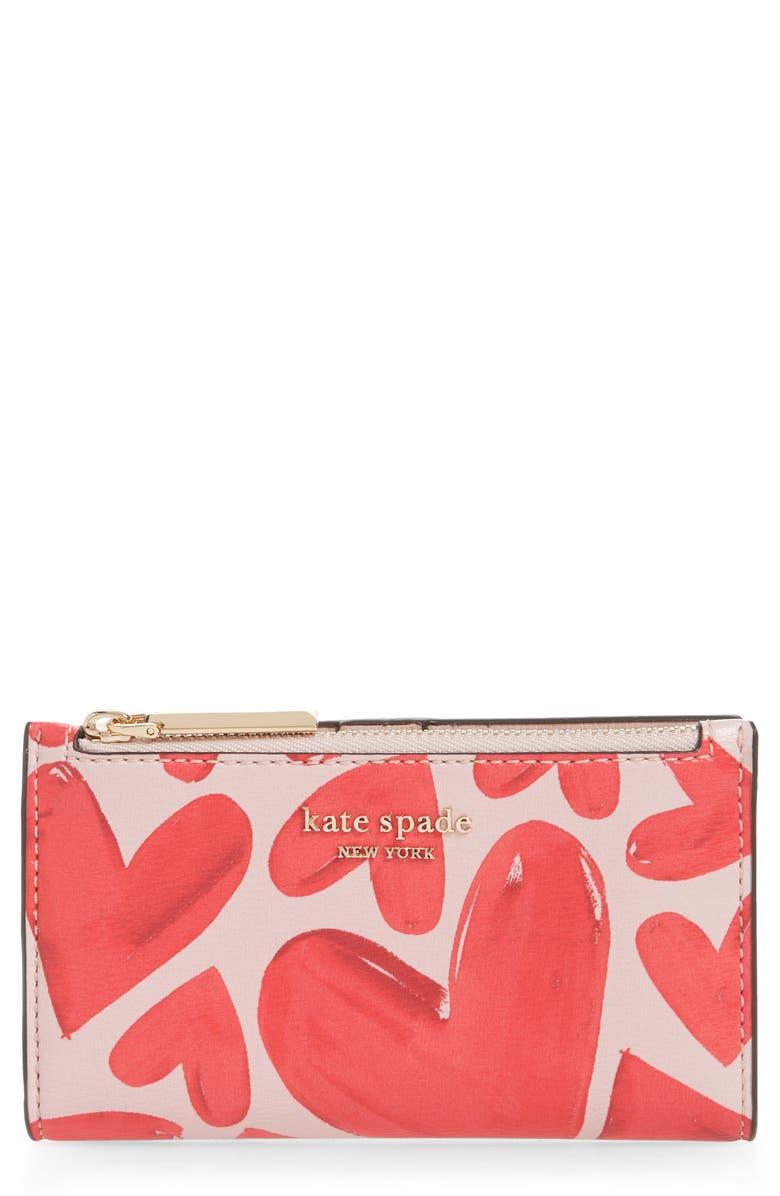KATE SPADE NEW YORK small spencer ever fallen slim bifold wallet, Main, color, TUTU PINK