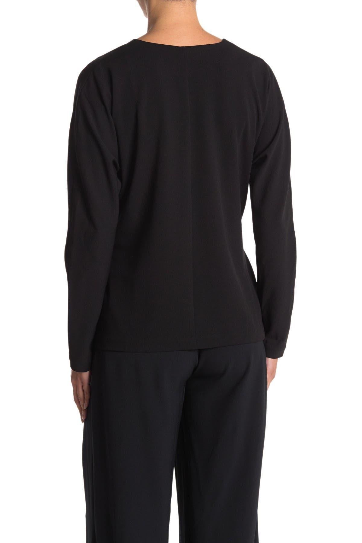 H HALSTON Long Sleeve Wrap Jacket