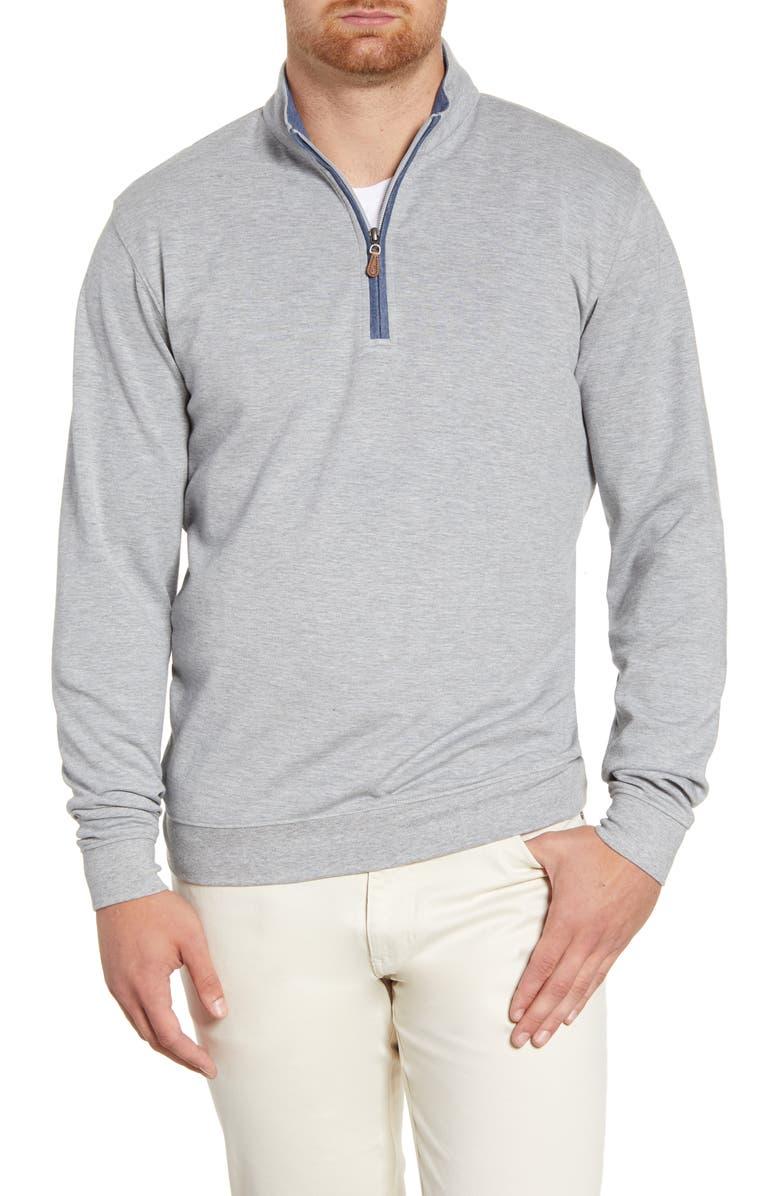 JOHNNIE-O Sully Quarter Zip Pullover, Main, color, LIGHT GREY