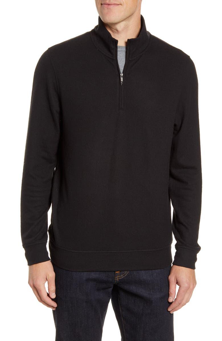 NORDSTROM MEN'S SHOP Half Zip Pullover, Main, color, BLACK CAVIAR