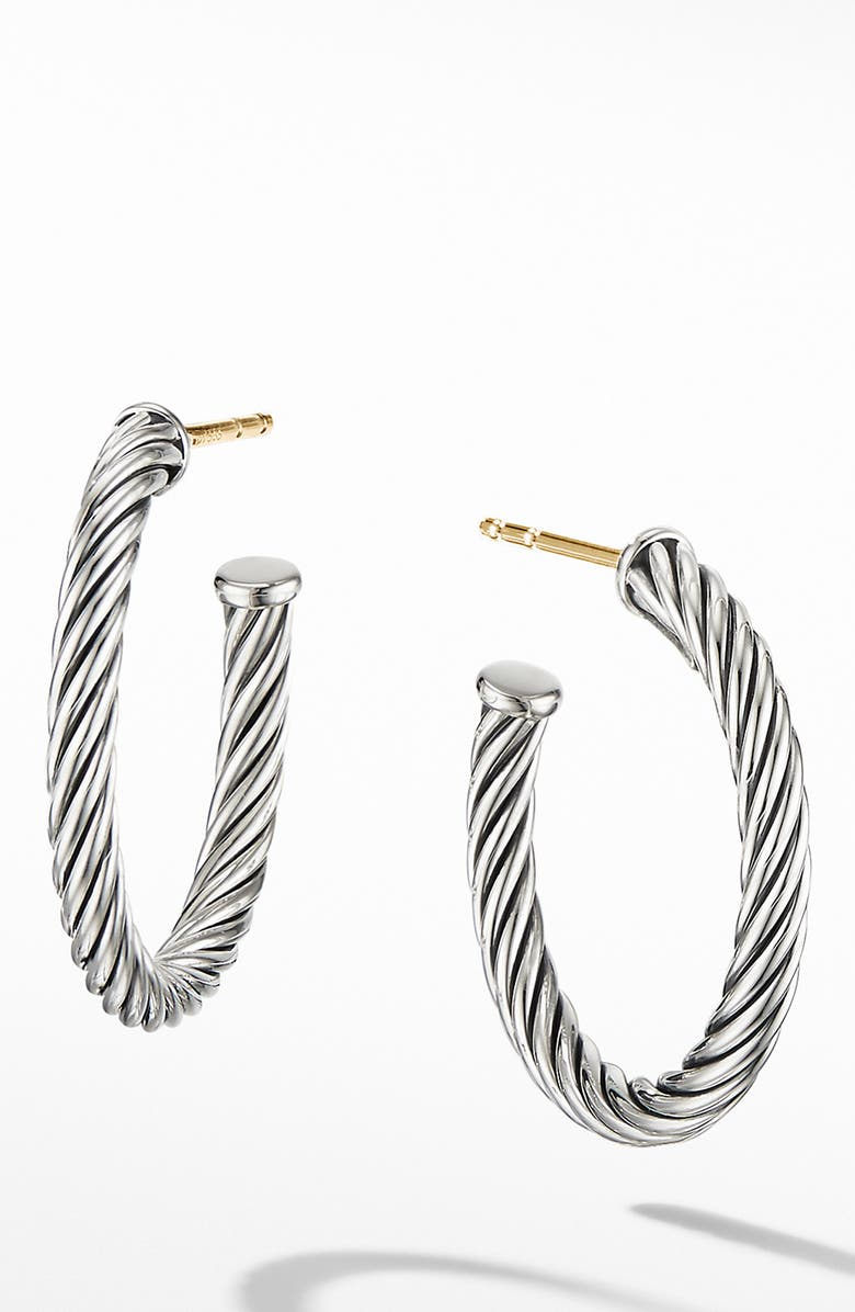 DAVID YURMAN Cable Hoop Earrings, Main, color, SILVER