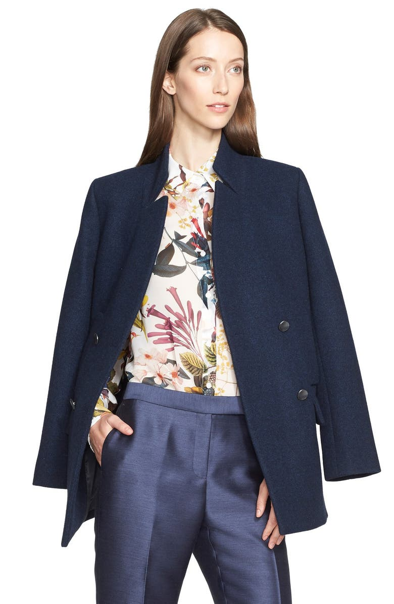 NORDSTROM SIGNATURE AND CAROLINE ISSA Double Breasted Wool Peacoat, Main, color, 410