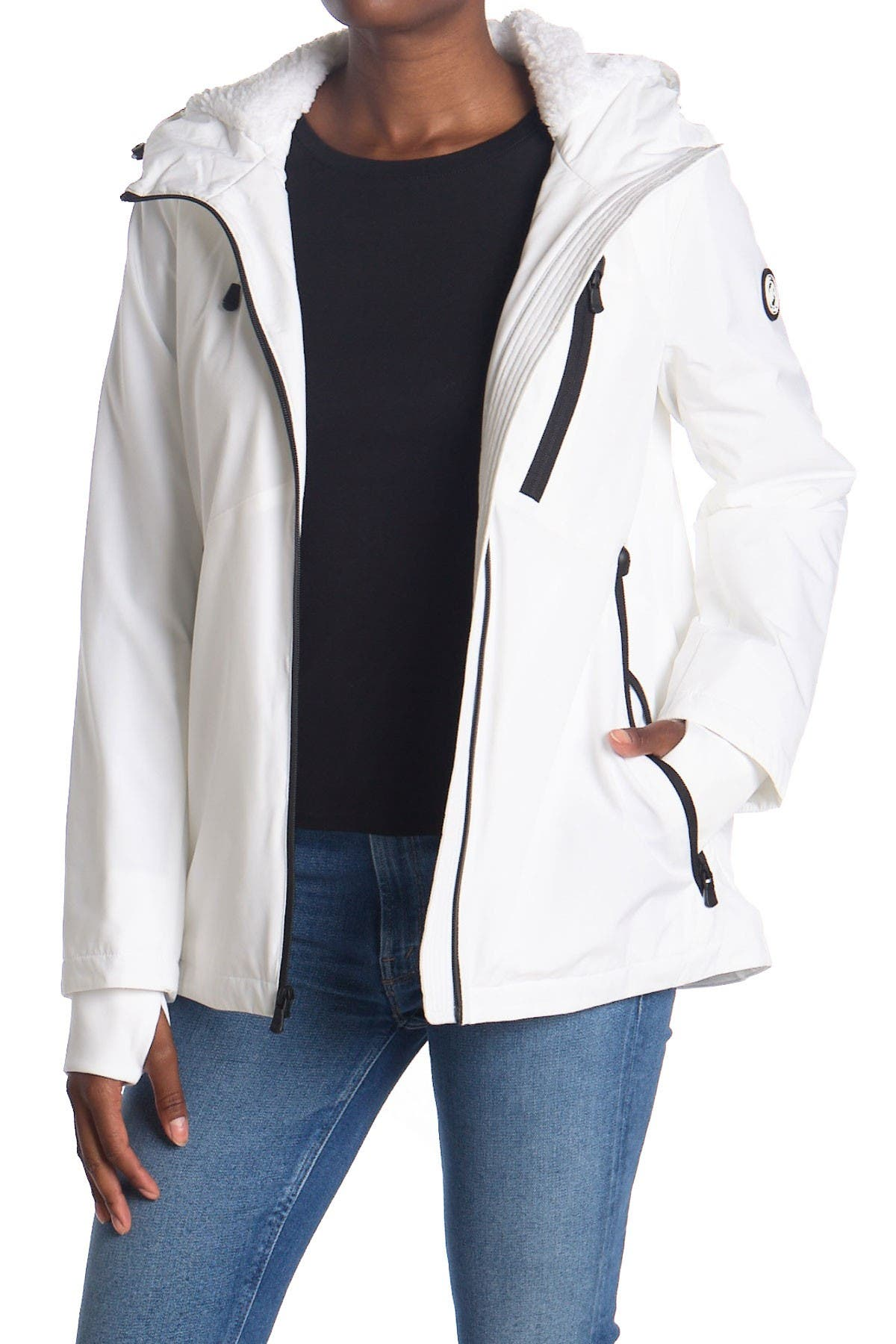 Image of Michael Kors Plush Lined Zip Front Hooded Jacket