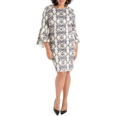 Plus Size Eloquii Snake Print Fit & Flare Scuba Dress, Ivory