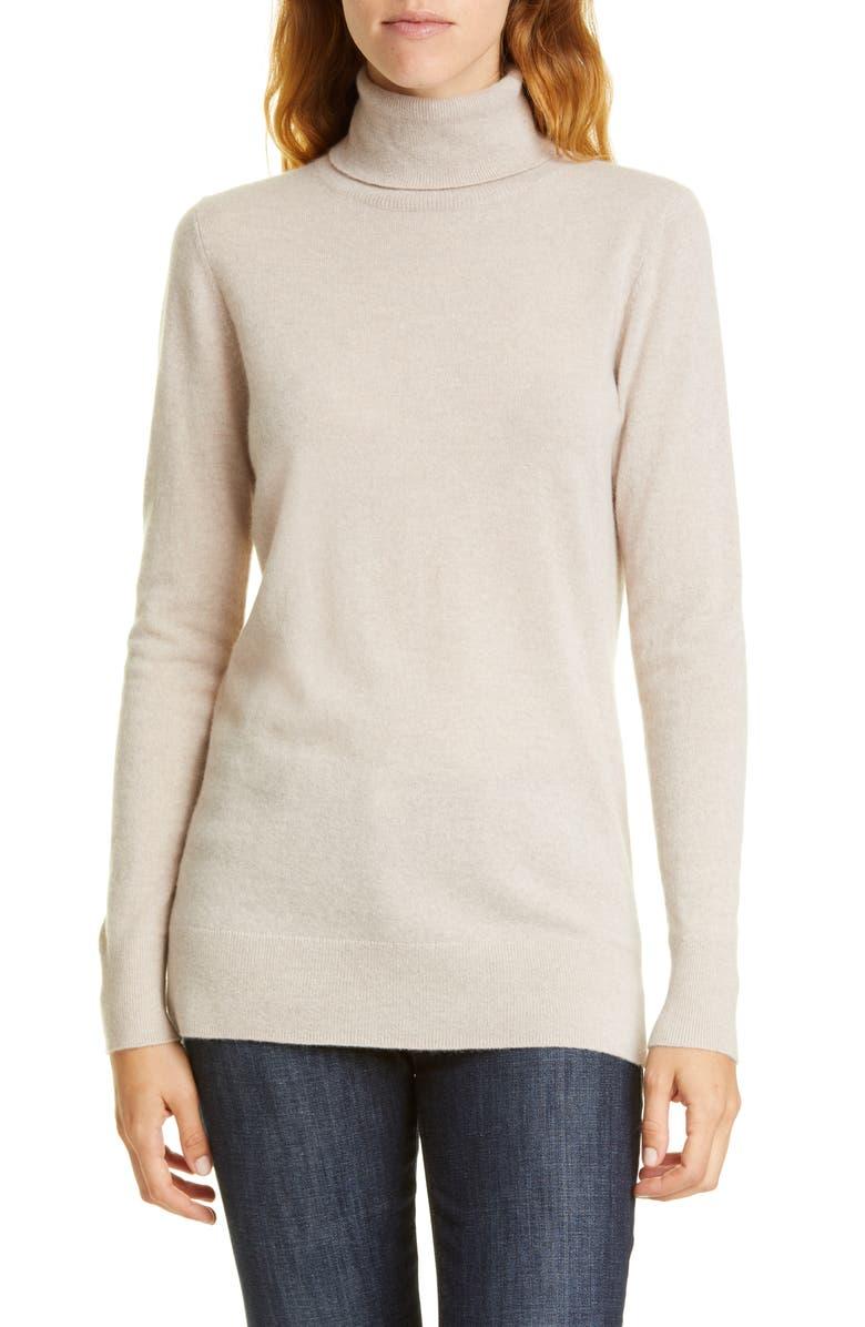 NORDSTROM SIGNATURE Turtleneck Cashmere Sweater, Main, color, BEIGE PUMICE