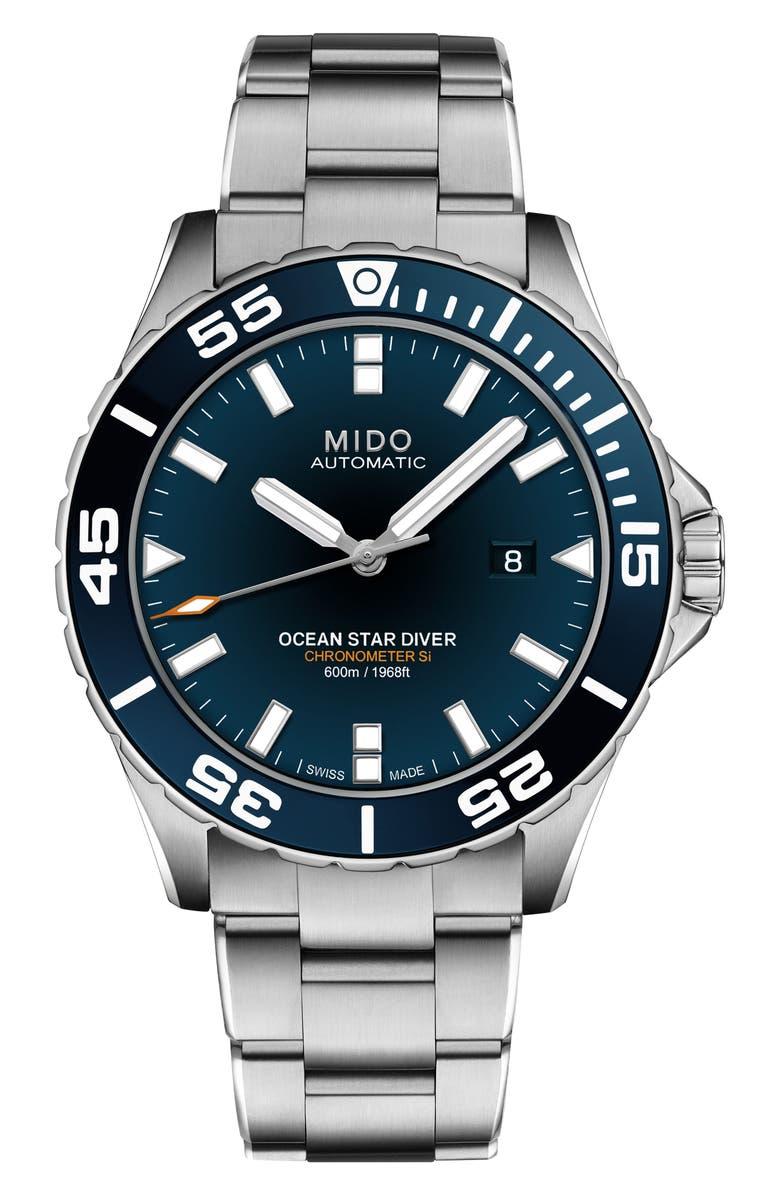 MIDO Ocean Star Diver Automatic Bracelet Watch, 43.5mm, Main, color, SILVER/BLUE