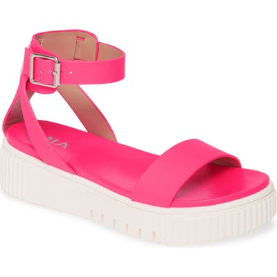 Mia Lunna Platform Ankle Strap Sandal- Pink
