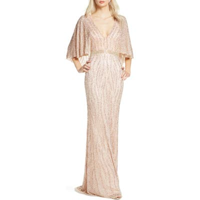 MAC Duggal Beaded Cape Sleeve Evening Gown, Ivory