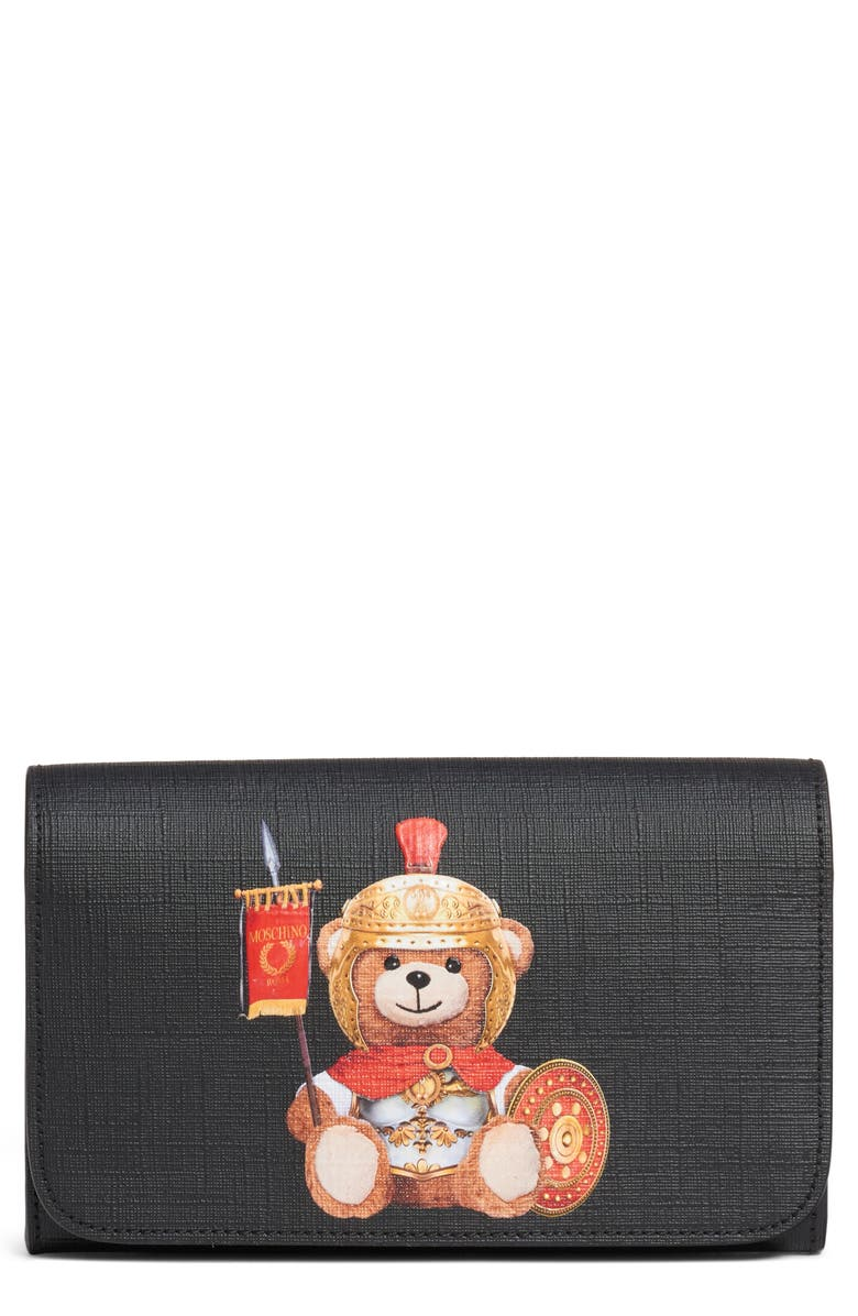 MOSCHINO Gladiator Teddy Leather Wallet on a Chain, Main, color, FANTASY PRINT BLACK