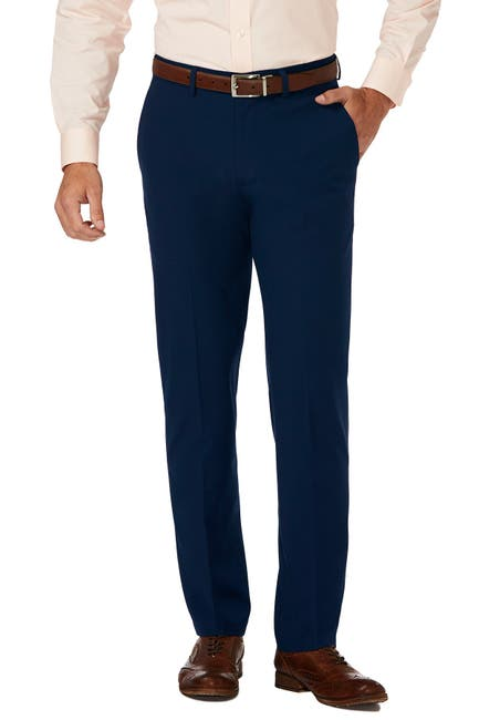 "Image of HAGGAR Gabardine 4-Way Stretch Slim Fit Flat Front Dress Pants - 29-34"" Inseam"
