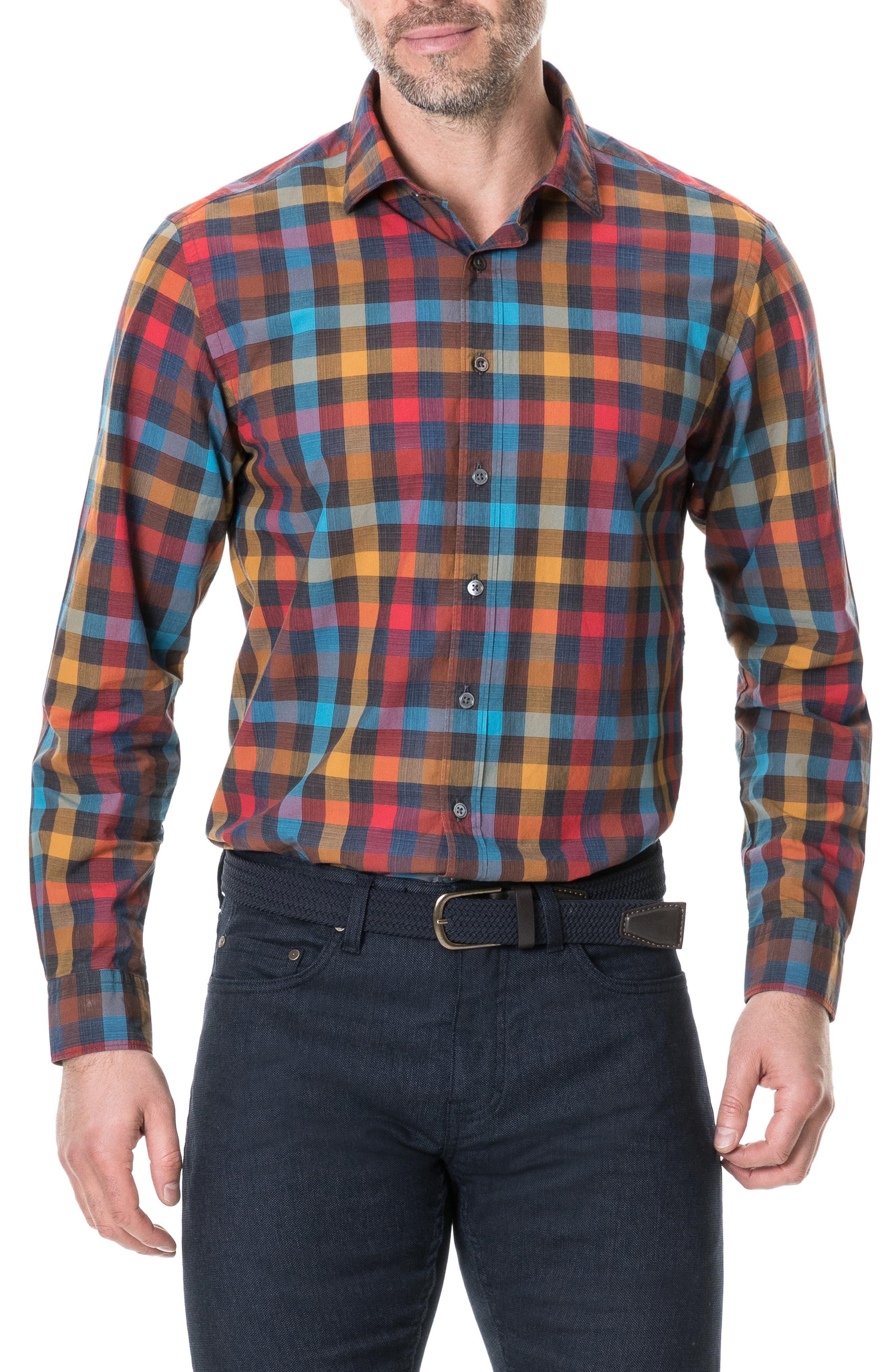 Ridgelands Regular Fit Check Sport Shirt, Main, color, CORAL REEF