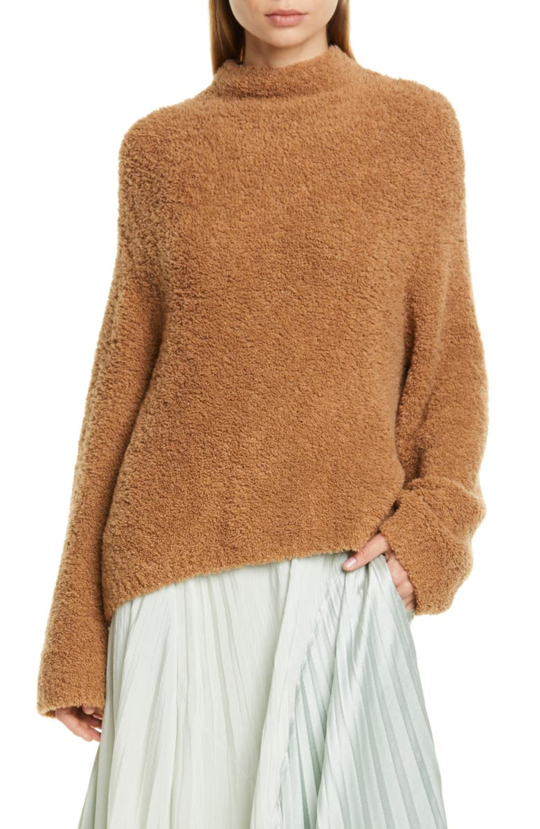 VINCE Teddy Wool & Cashmere Blend Funnel Neck Sweater, Main, color, HONEYSUCKLE