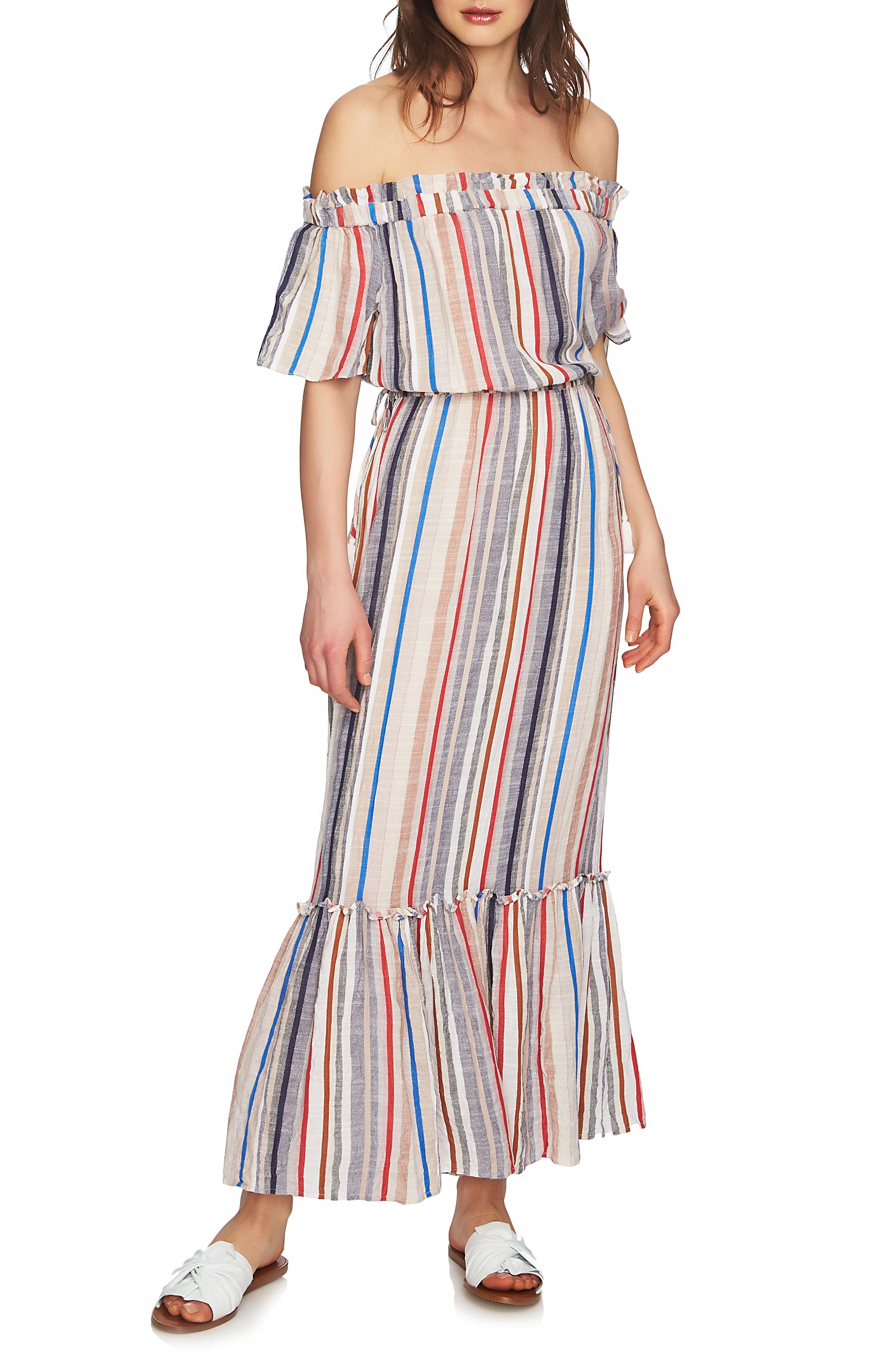 Cinched Waist Off the Shoulder Maxi Dress