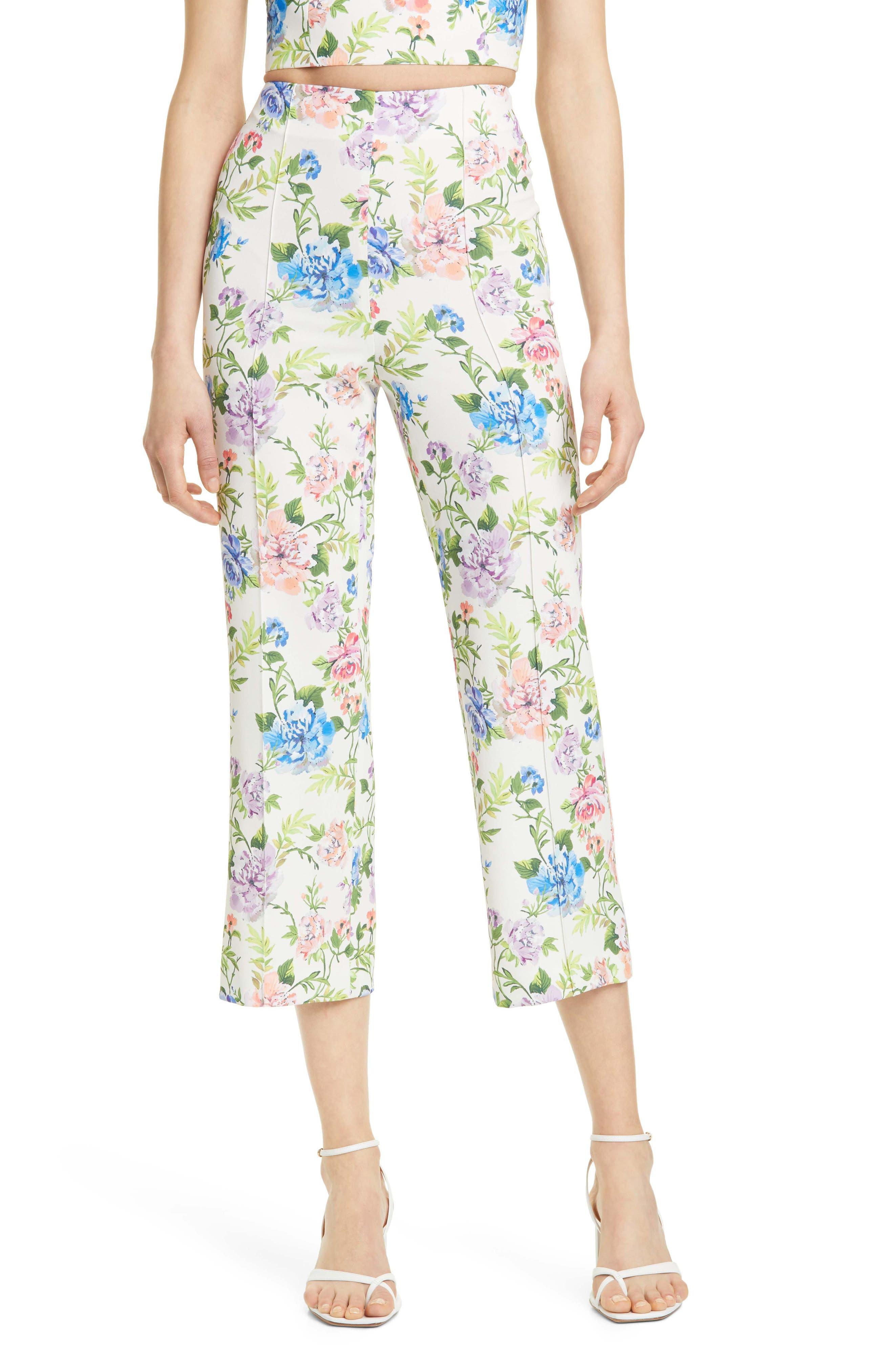 Image of Alice + Olivia Lorinda Floral Crop Trousers