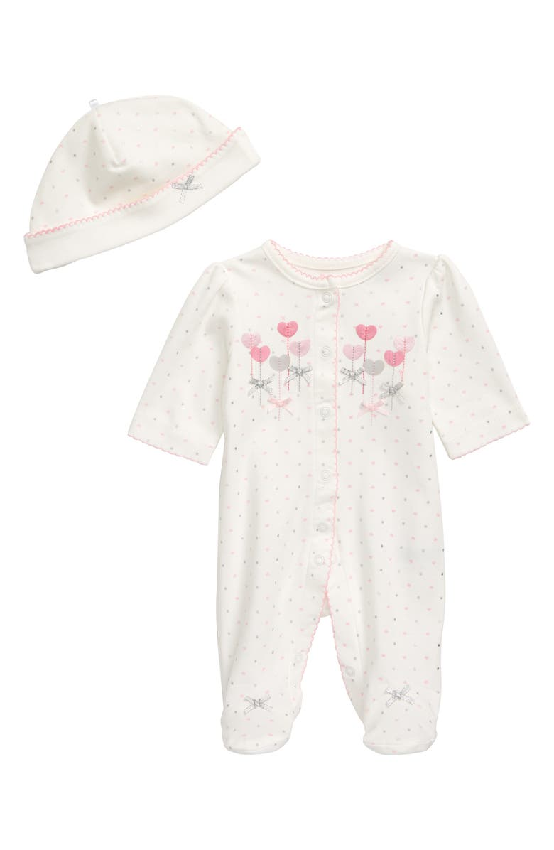 LITTLE ME Sweetheart Footie & Cap Set, Main, color, MARSHMALLOW/ MULTI