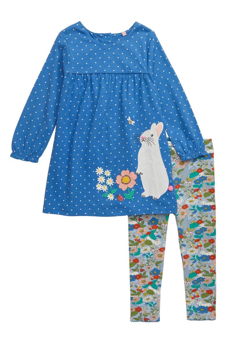 MINI BODEN Jersey Dress Set, Main, color, ELIZABETHAN BLUE/ IVORY/ BUNNY