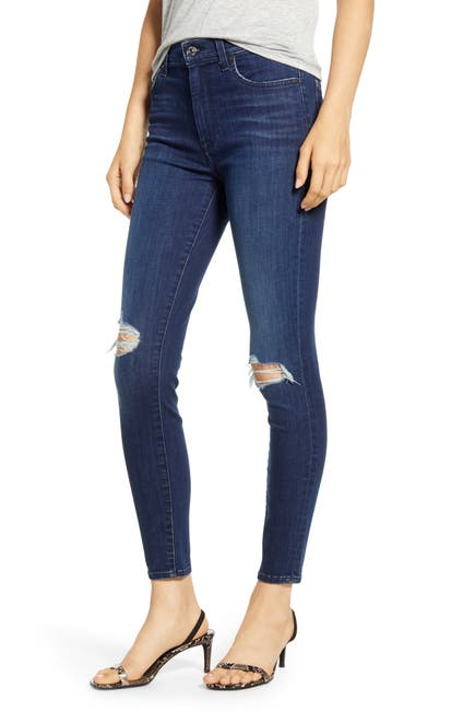 7 For All Mankind High Waist Distressed Ankle Skinny Jeans Nordstrom Rack