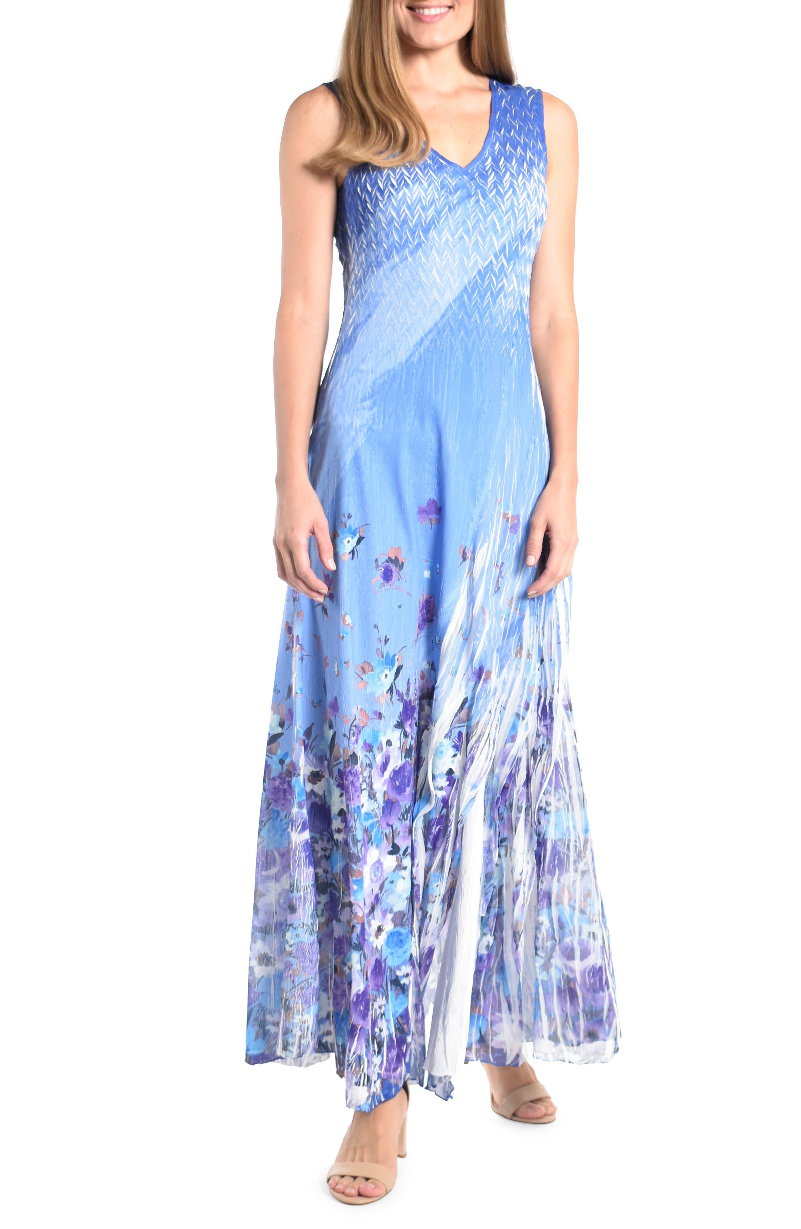 Floral V-Neck Side Slit Georgette Gown