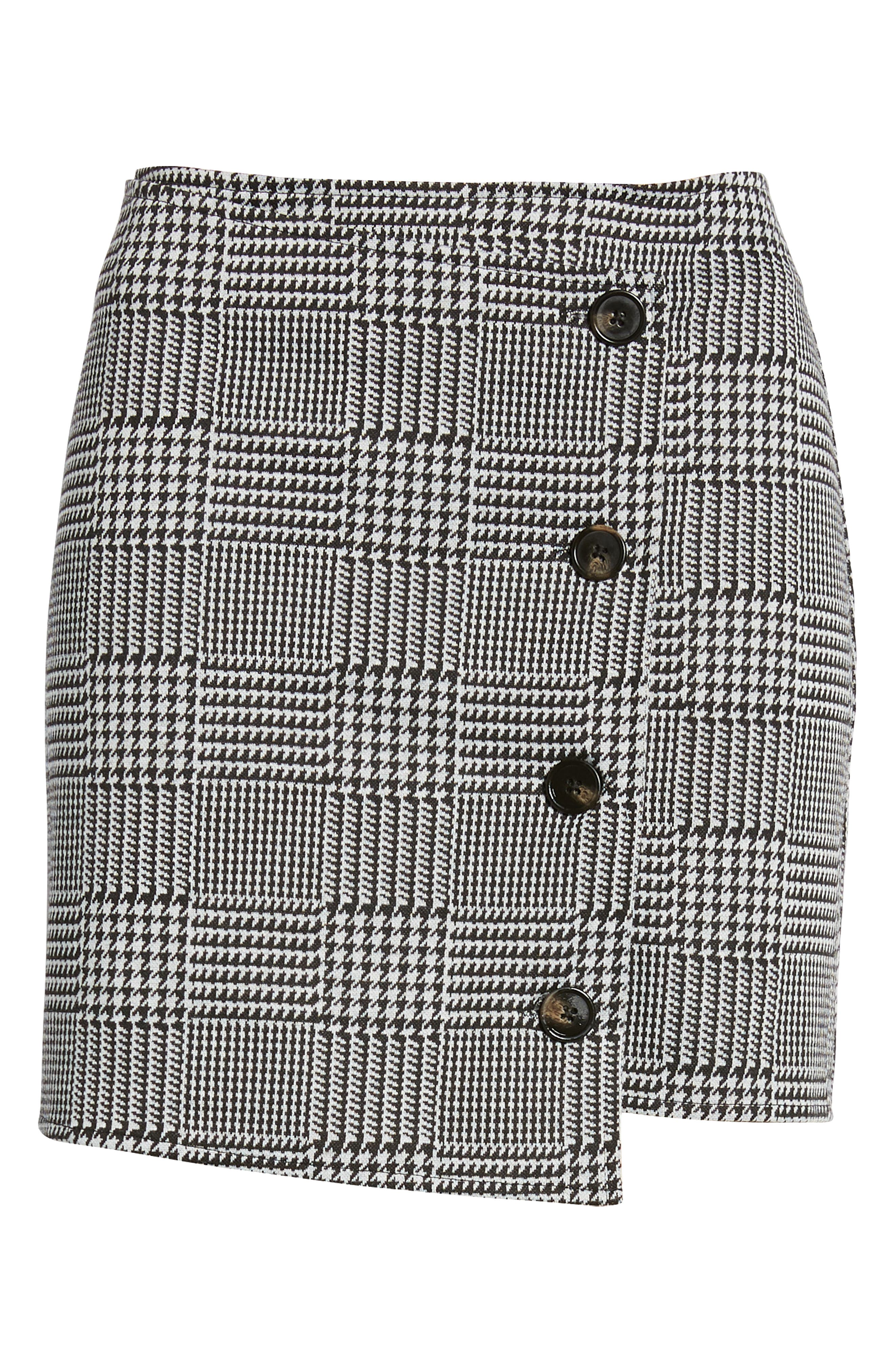 ,                             Houndstooth Check Button Wrap Skirt,                             Alternate thumbnail 6, color,                             PLAID