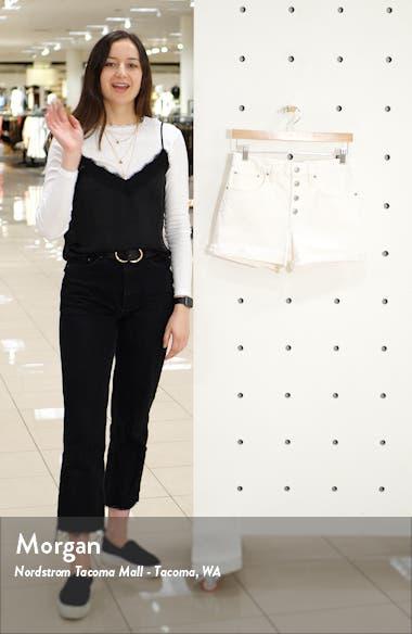 High Rise Button Fly Denim Shorts, sales video thumbnail