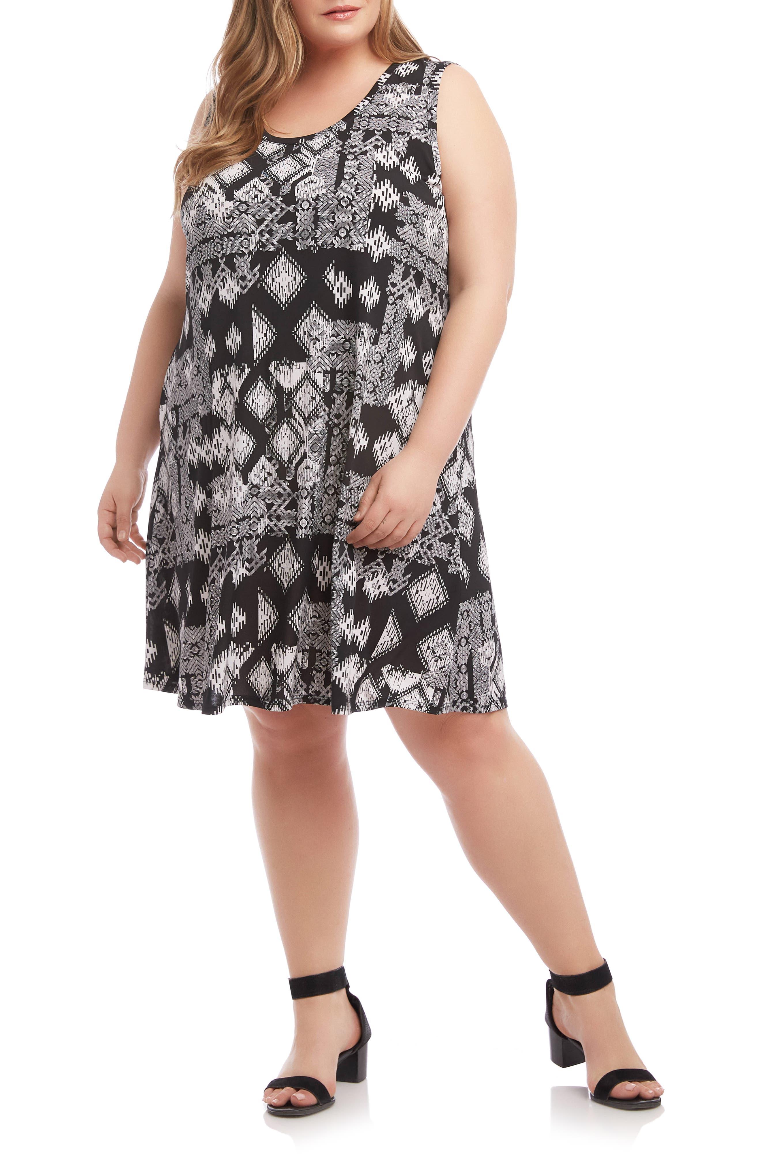 Plus Size Karen Kane Chloe Geo Print Dress, Black