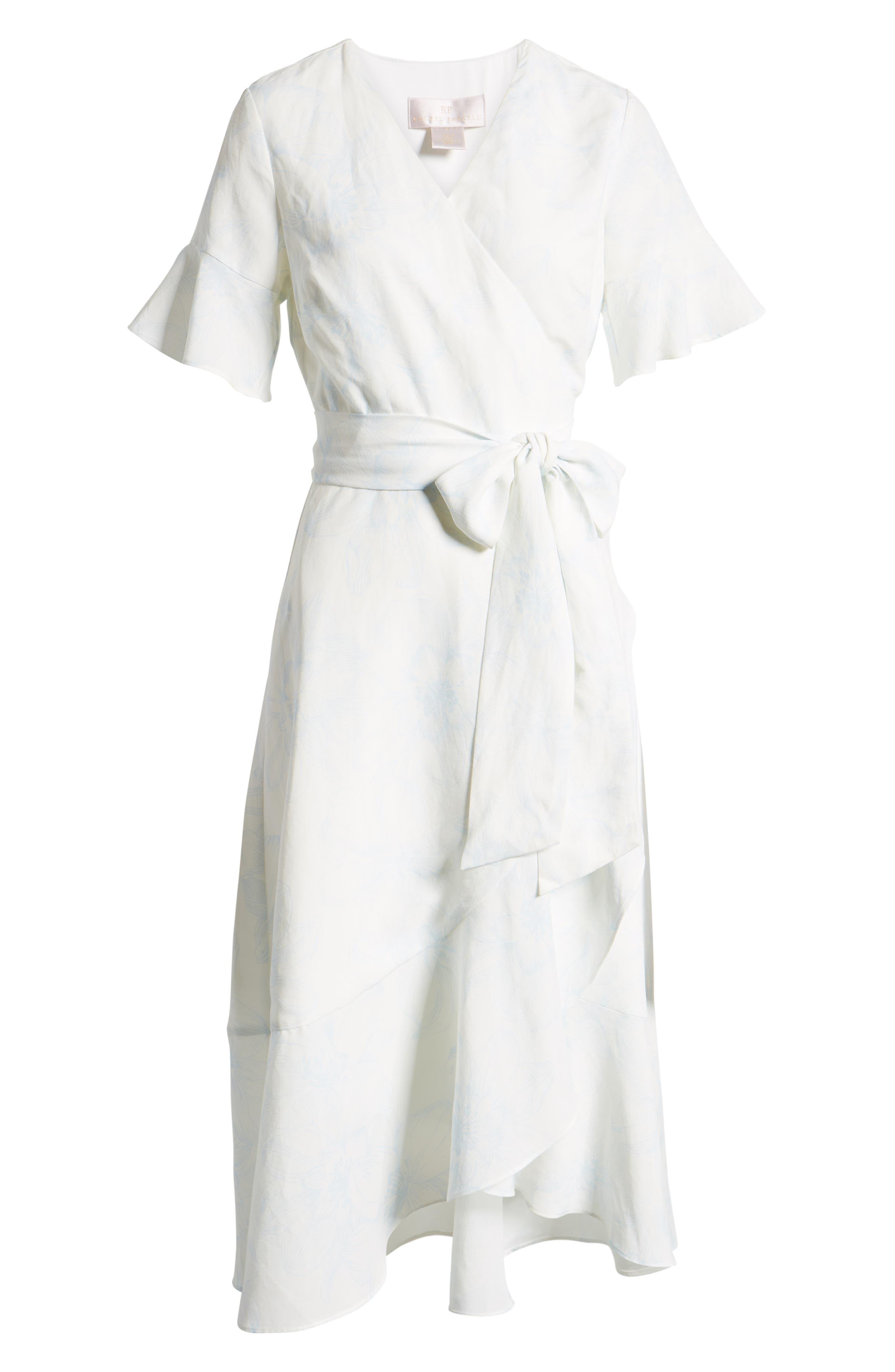 ,                             Ruffle Wrap Dress,                             Alternate thumbnail 8, color,                             IVORY DOVE SKETCH FLORAL
