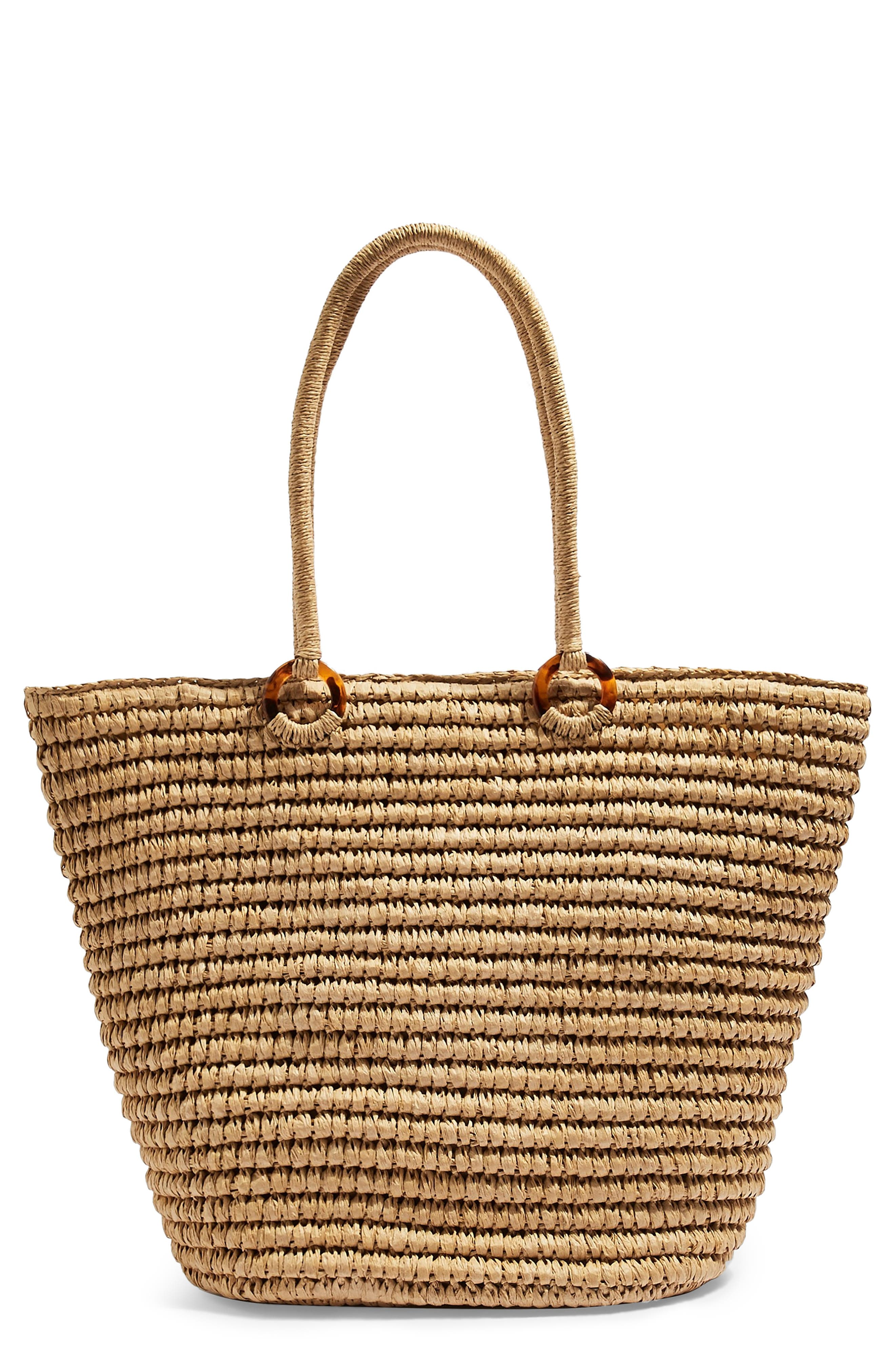 Franka Straw Ring Tote Bag, Main, color, NUDE