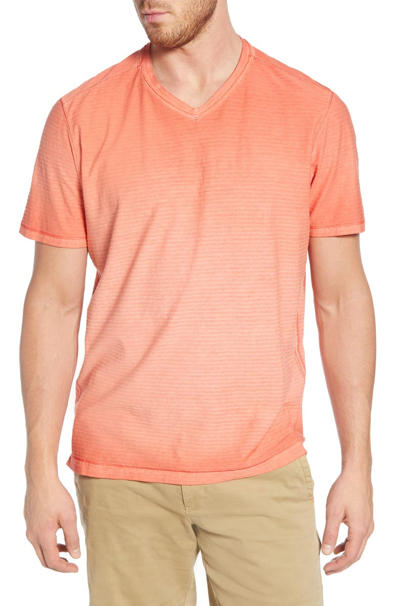 TOMMY BAHAMA Cirrus Coast V-Neck T-Shirt, Main, color, MANGO TANGO