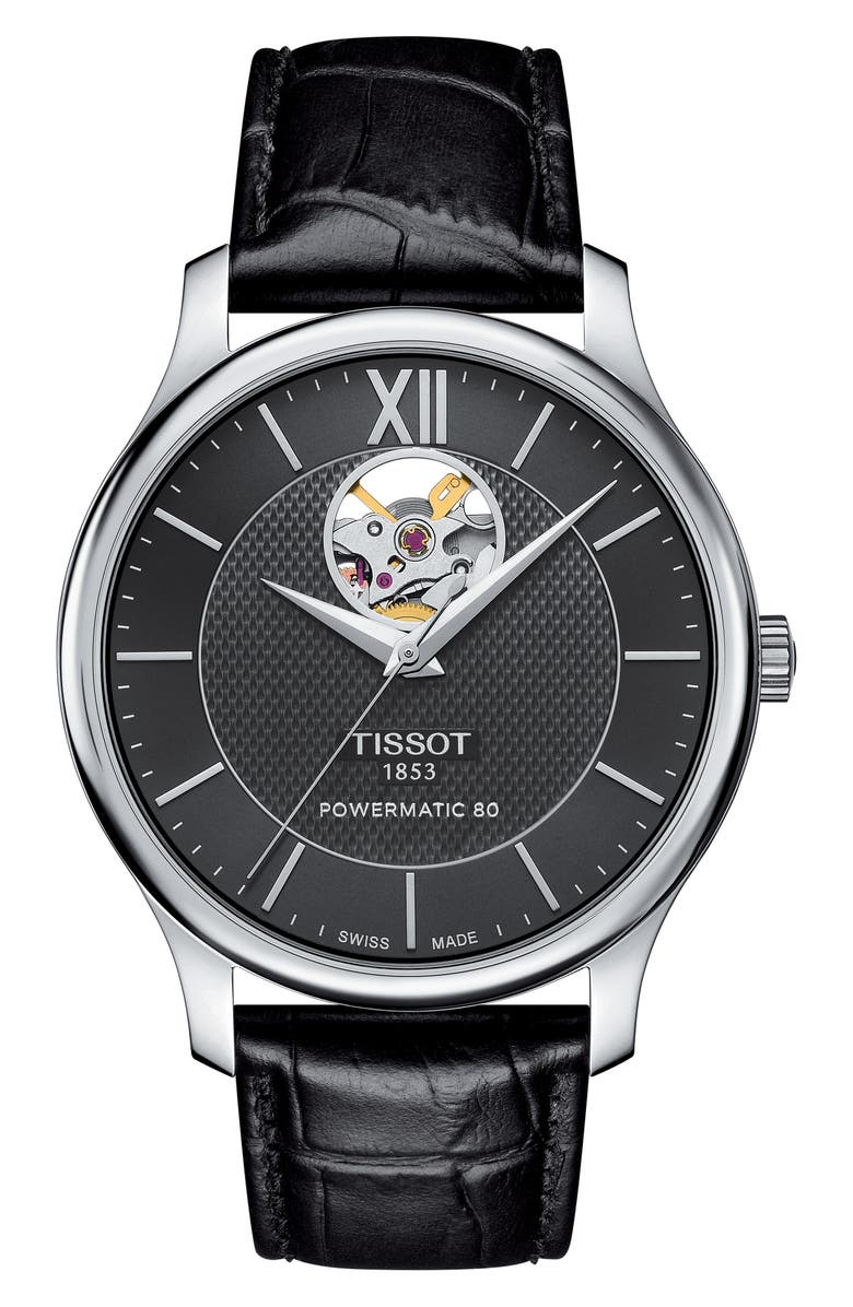 TISSOT Tradition Leather Strap Watch, 40mm, Main, color, BLACK/ SILVER