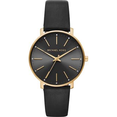 Michael Kors Pyper Leather Strap Watch,