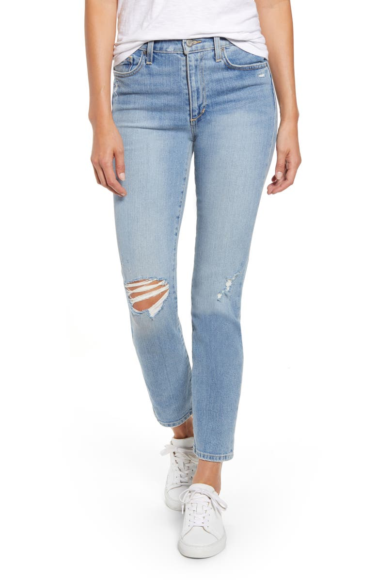 JOE'S The Milla High Waist Ripped Ankle Straight Leg Jeans, Main, color, THELMA