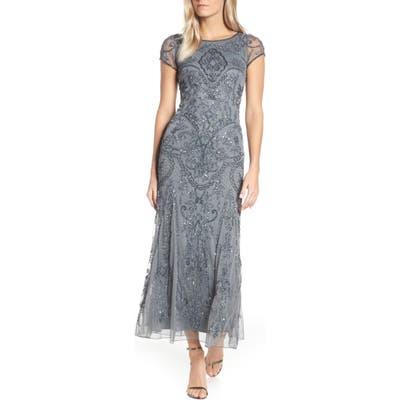 Petite Pisarro Nights Embellished Mesh Gown, Grey