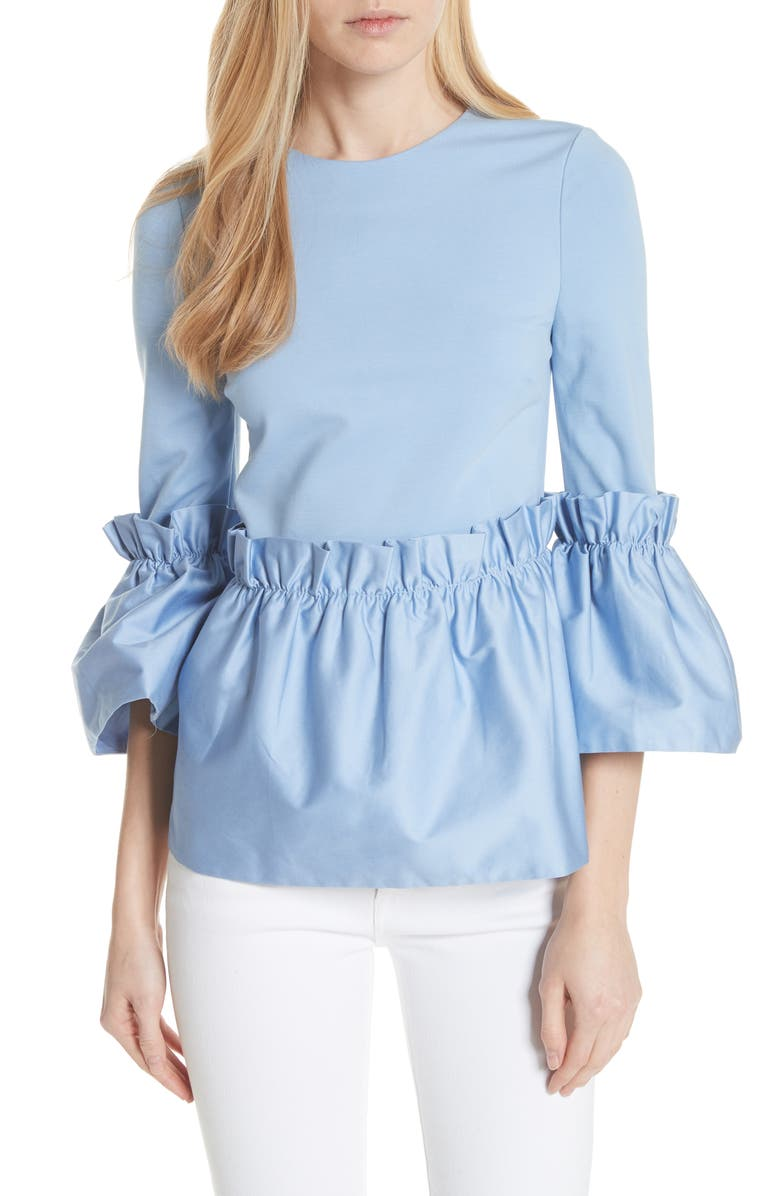 TED BAKER LONDON Pleat Ruffle Top, Main, color, 421