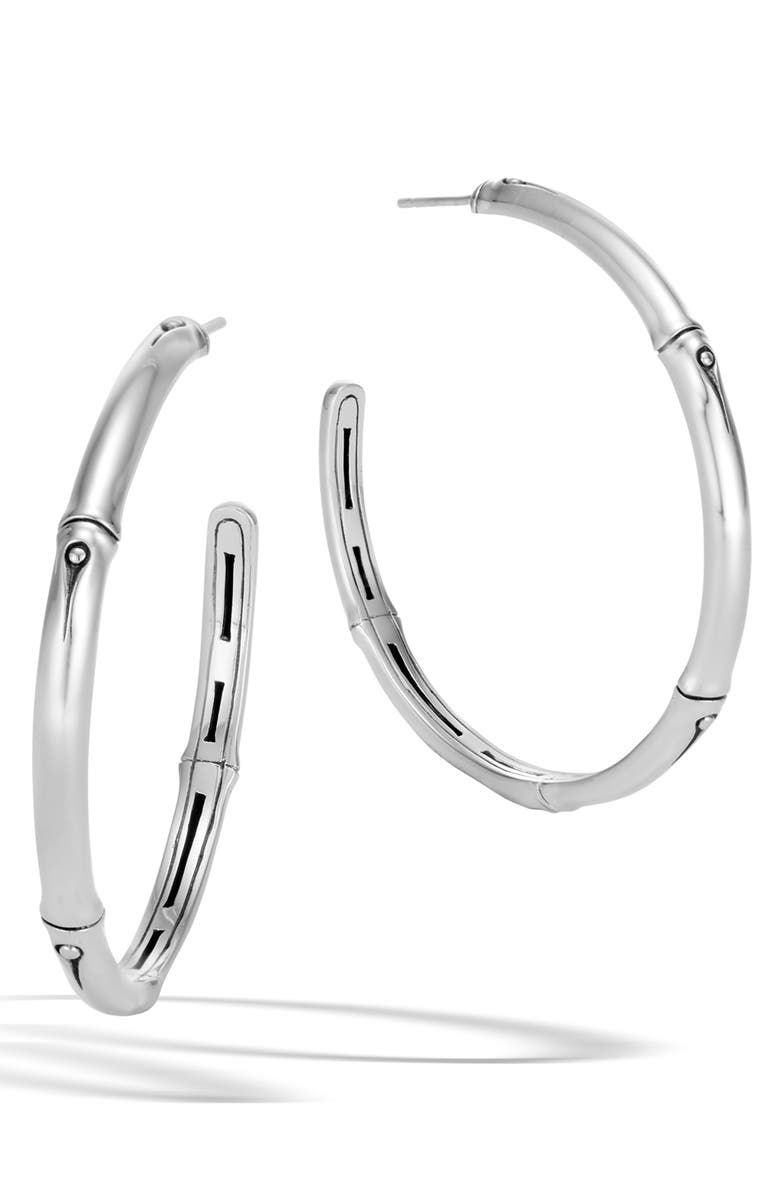 JOHN HARDY Bamboo Collection Large Sterling Silver Hoop Earrings, Main, color, SILVER