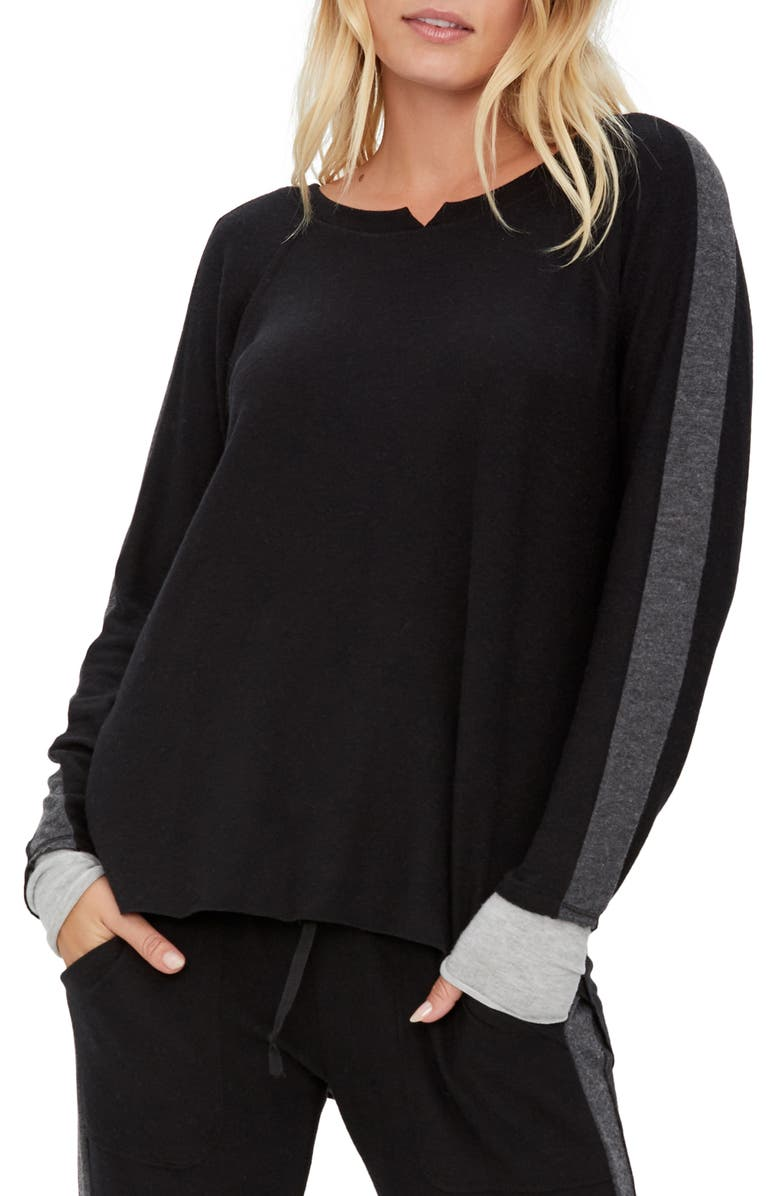 MICHAEL STARS Chloe Pullover, Main, color, BLACK/ CHARCOAL/ HEATHER GREY