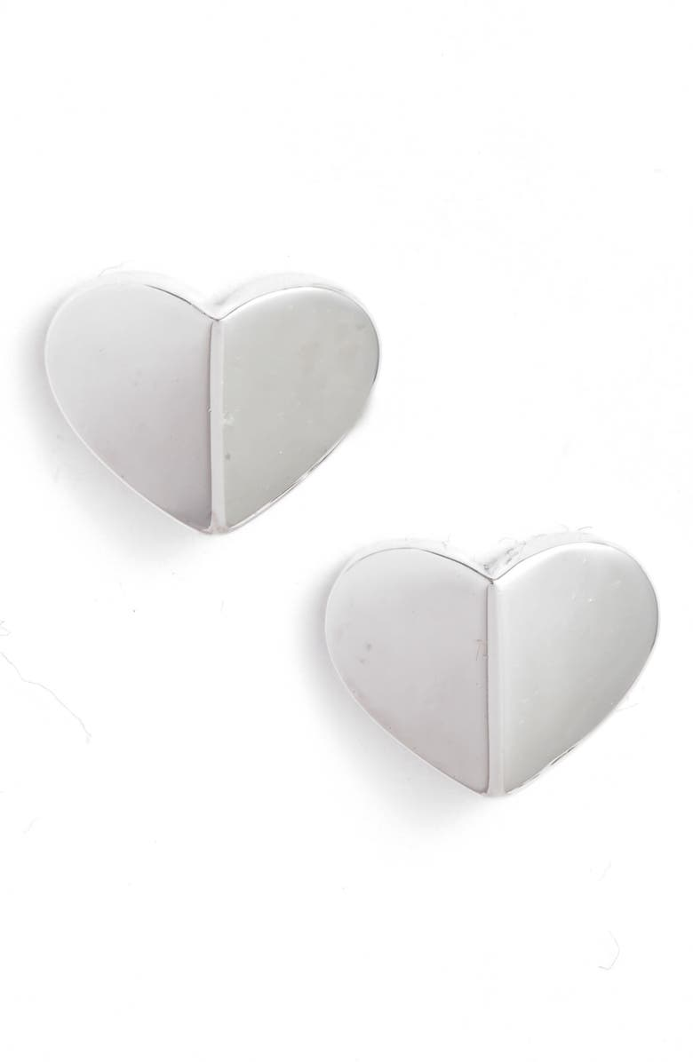 KATE SPADE NEW YORK small heart stud earrings, Main, color, SILVER