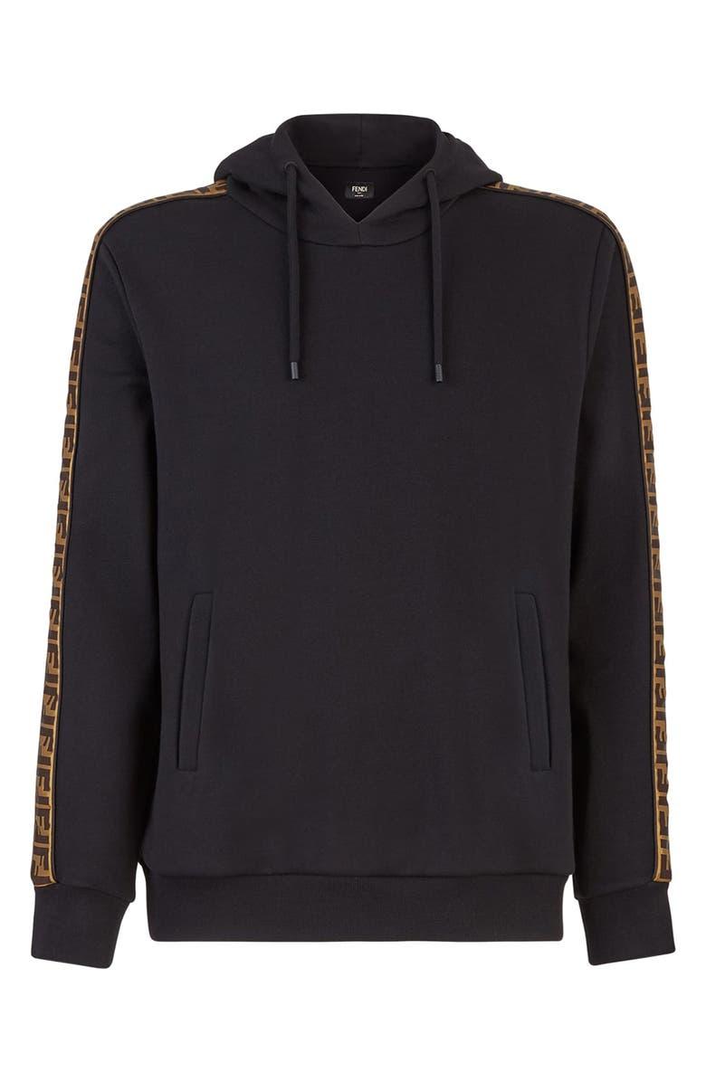 FENDI Taped FF Motif Hooded Sweatshirt, Main, color, 012