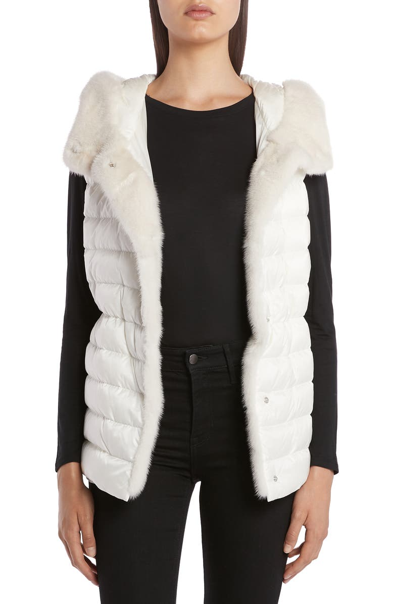 MONCLER Beurre Lightweight Down Puffer Vest with Genuine Mink Fur Trim, Main, color, WHITE