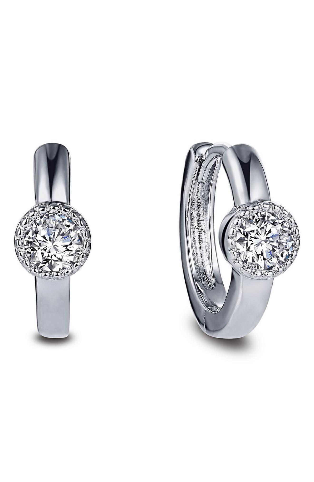 Simulated Diamond Station Huggie Hoop Earrings