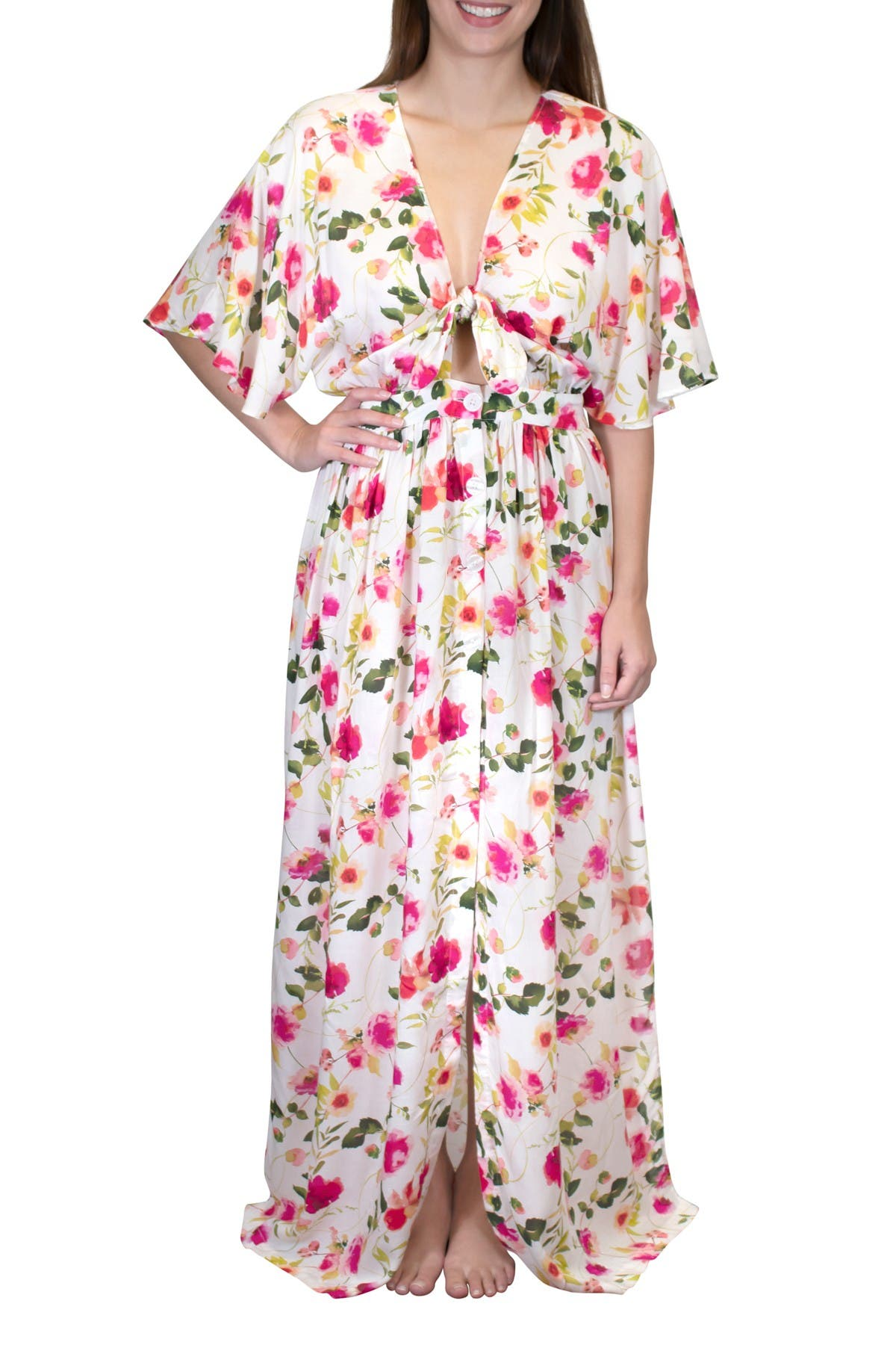 Image of Nanette Lepore Lindsey Tie Front Maxi Dress