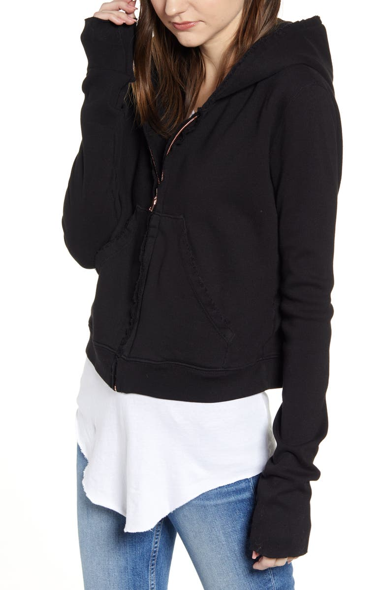 FRANK & EILEEN Tee Lab Zip Front Hoodie, Main, color, BLACK