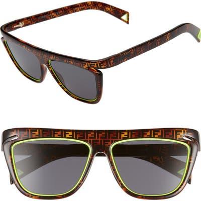 Fendi 55Mm Flat Top Sunglasses - Brn Havana Yellow/ Grey Blue