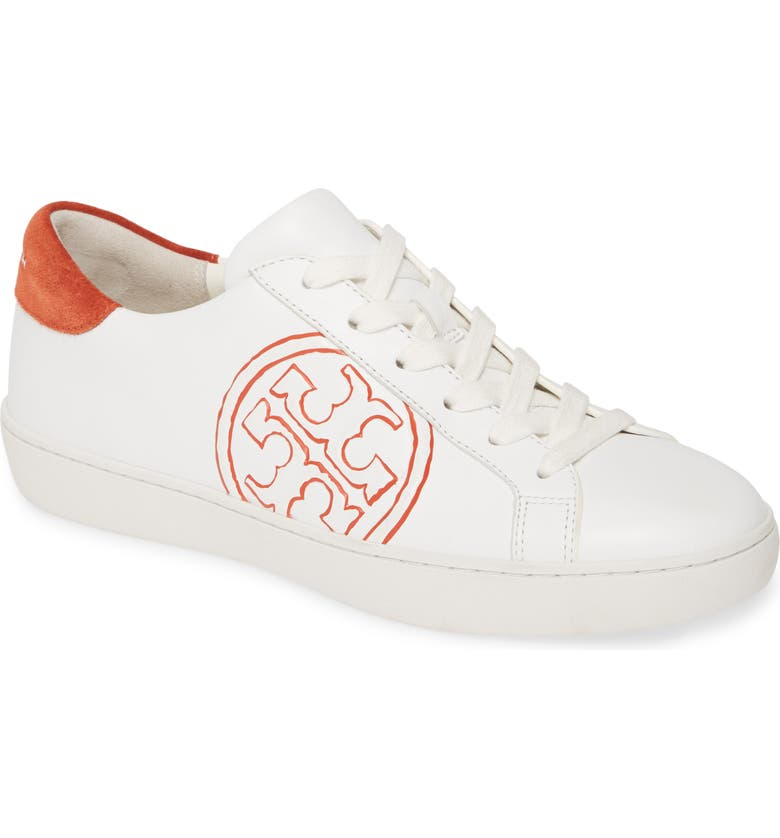 TORY BURCH T-Logo Lace-Up Sneaker, Main, color, SNOW WHITE / CANYON ORANGE